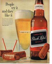 1961 Carling Black Label Beer Cocktail Wieners Vtg Print  Ad