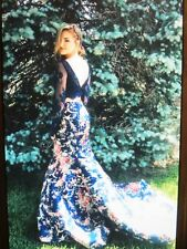 SHERRI HILL-PROM GOWN #51064 SIZE 2- NAVY PRINT/FLORAL-2PC.LACE LONG SLEEVE CROP