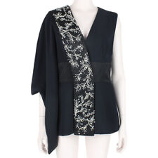Alexander McQueen Luxurious Black Crystal Embellished Kimono Top IT44 UK12