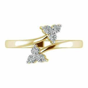 0.12Ct Round Cut Diamond Bypass Adjustable Women's Toe Ring 14k Yellow Gold Over