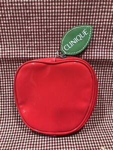 Clinique Red Apple Cosmetic Bag Coin Purse-No Box