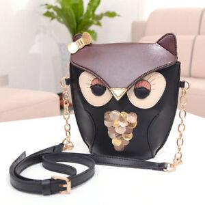 Women Cross Body Owl Print Satchel Messenger Shoulder Bag Purse Handbag