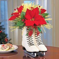 Holiday Ice Skates Poinsettia Centerpiece Fiber Optic Lighted Holly Christmas