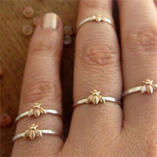 Bee Ring Gold Tone Hammered Band Stacking Rings Mother Gift RF