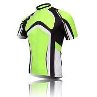 Green Men's Cycling Jerseys Shirts Short Sleeve Bike Bicycle Cycle Jerseys Tops