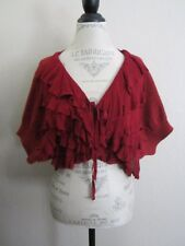 Anthropologie Moth Winter Goodies Cranberry Wool Ruffle Cardigan Sweater S EUC