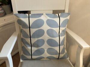"Handmade Designer Orla Keily Stem Powder Blue Print Edged Cushion Cover 17"""