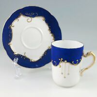 Haviland Co Limoges France Porcelain Demitasse Cup Saucer Satin Cobalt Blue Atq