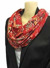 Liberty of London Handmade Jersey Infinity Spring Scarf, Red Childhood Treasures