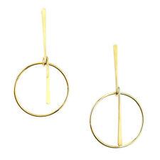 Gold Minimalist Bar Hoop Drop Earrings, 3-Inch