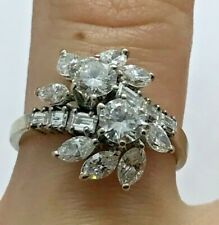 Ladies 18KW Gold Marquise, RBC & Baguette Diamond Cluster Flower Engagement Ring