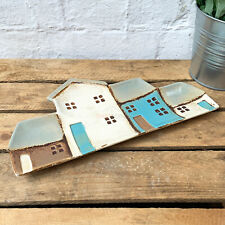 Ceramic Row Cottage Houses Decorative Keys Coins Tray Dish Plate Platter Gift