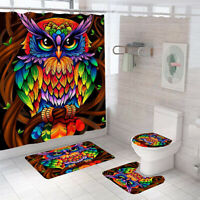 Owl Shower Curtain Bathroom Rug Set Thick Bath Mat Non-Slip Toilet Lid Cover