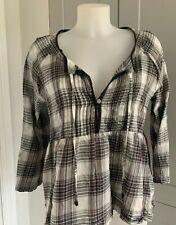 Odd Molly Ladies Light Cotton dark grey / checked Top Size 2/ Medium, excl cond.