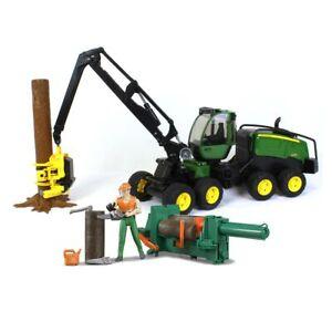 1/16 Bruder John Deere Tree Harvester with with Forestry Worker and Log Splitter