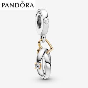 ALE S925 Genuine Silver Pandora Two-tone Wedding Rings Dangle Charm + Gift Box