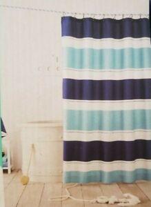 "Pillowfort Rugby Stripe Fabric Shower Curtain 72"" x 72"" NIP"