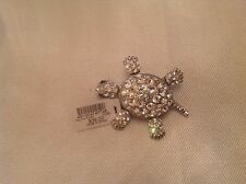Chico's Brand New With Tag Pin Or Brooch Rhinestone Turtle With Movable Features
