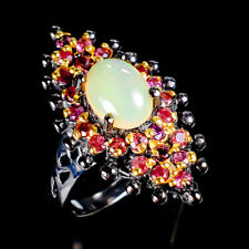 Beauty Rainbow8x6mm Natural Opal 925 Sterling Silver Ring Size 6.5/R120022