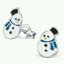 New Childrens Ladies Sterling Silver Snowman  Christmas Stud Earrings 925 Boxed