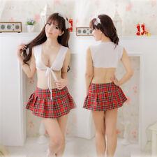 Women's School Girl Costume Sexy Lingerie Uniform Cosplay Vest+Skirt Dress Set