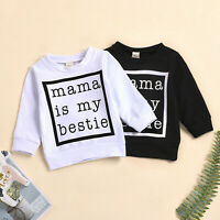 Toddler Kids Baby Girls Boys Letter Print Sweatshirts Pullover Tops Clothes