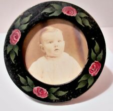 Antique Wood Frame Painted Pink Roses Tole Baby Picture 1920S Stand Or Hang