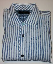 TED BAKER BLUE/WHITE FLORAL EMBOSSED L/S FINE COTTON DRESS SHIRT. TBK7668-6A8