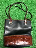 Vtg Brighton Black Brown Leather Satchel Purse Handbag Heavy Quality Leather