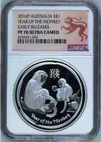 2016 P Australia PROOF Silver Lunar Year of the Monkey NGC PF 70 1 oz $1 Coin ER
