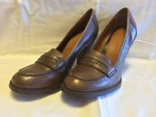 Thom McAn Brown Leather Vintage Loafer Style Heels 7 1/2