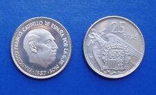 MONEDA DE 25 pesetas 1957 *75 Proof Franco S/C