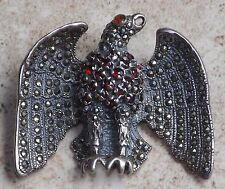 EAGLE ~ 925 Sterling Silver ~ Brooch Pin Necklace ~ Marcasite & Ruby