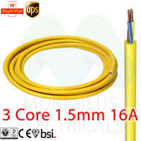 3 CORE 13 AMP ARCTIC YELLOW MAINS ELECTRICAL CABLE FLEX FOR OUTDOOR PER METER