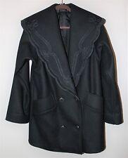 Women's new wool black leather trimed pea coat. Size 4. NWOT. DAVID BENJAMIN