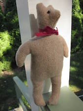 "HANDMADE TWEED WOOL STUFFED ANIMAL 12"" PRIMITIVE TEDDY BEAR AMERICAN FOLK CRAFT"