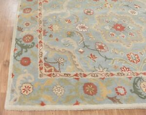 Old Hand Made Traditional Parsian Rugs Oriental Wool Blue Rug & Carpet