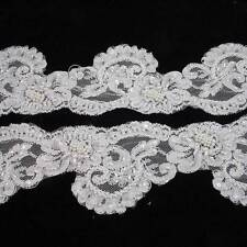 1 METRE WHITE BEADED LACE TRIM 105mm WEDDING DRESS VEIL TRIMMING BRIDAL HL1156