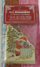 1986 Kitty Cucumber Die Cut 42 Kittens Christmas Garland Merrimack Nip