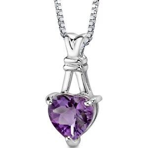 2.25 CT Heart Purple Amethyst Sterling Silver Pendant