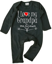 """Grandad Baby Clothes """"I Love My Grandpa This Much"""" baby Romper Suit Grandfather"""
