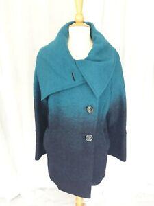 Ladies Monsoon Wool Coat Teal Jacket 16 New