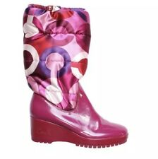 Coach Charm Signature Logo Quilted Puffer Winter Pink Platform Boots Size 8.5