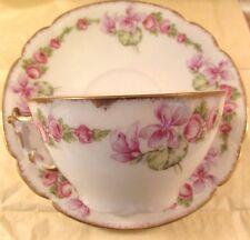 Antique ELITE Guerin LIMOGES France Cup Saucer Set Pink Drop Roses Style EUC