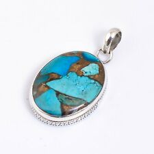"""Spiny Copper Turquoise Gemstone Ethnic Handmade 925 Sterling Silver Pendant 1.7"""""""