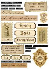 Bastelpapier-Scrapbooking-A4-250g-Vintage-Shabby-Nostalgie-Bücherei-16000