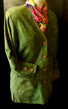 Women Maddox genuine real green suede-skin Coats & Jacket size 36