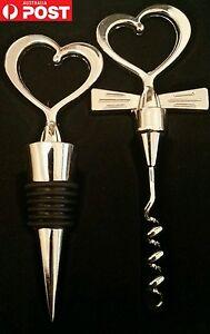 Silver Wine Bottle Opener & Stopper Set Heart Wedding Bride and Groom Gift Set