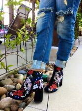 Qupid Round Toe Embroidered Floral Black Block Chunky Heel Bootie Ankle Boots