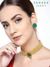 Indian Bollywood Traditional Green Pearl Choker Necklace Earrings Jewelry Set